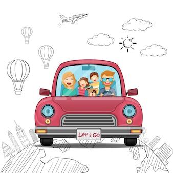 Gekritzel-handabgehobener betrag automannfrauenjungenmädchen- und -familienkarikaturreisender mit rauche und anlagegut reisen auf der ganzen welt konzept.