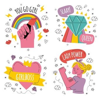 Gekritzel handgezeichnete girl power sticker sammlung