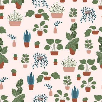 Gekritzel handgezeichnete pflanzen in töpfen und vasen auf pastellrosa.