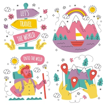 Gekritzel handgezeichnete reiseaufkleber sammlung