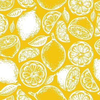 Gekritzel handgezeichnetes nahtloses muster von limette und zitrone. tropischer sommer zitrusfrucht vintage stil.