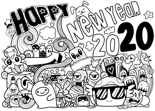 Gekritzel-hippie-grußkarte des neuen jahres 2020, die gruppe von netten und netten cartoons machen spaß