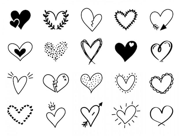 Gekritzel liebesherz. liebevolle niedliche hand gezeichnete skizzierte herzen, gekritzel valentinstag herzform zeichnungselemente für grußkarten und valentinstag ikonen gesetzt. romantische symbole