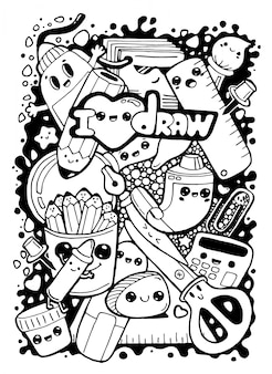 Gekritzel lustige kawaii zeichentrickfiguren briefpapier, bürowerkzeuge, dinge.