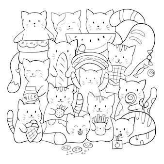 Gekritzel malvorlagen für kinder und erwachsene. niedliche kawaii katzen mit futter und süßigkeiten. schwarzweiss-illustration.