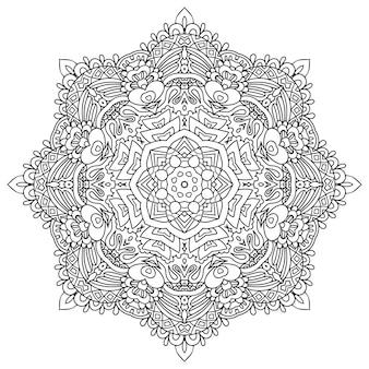 Gekritzel-mandala des vektors hand gezeichnet. ethnisches medaillon mit grafischer verzierung des gekritzels.