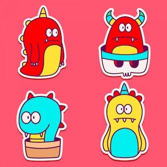 Gekritzel monster cartoon charakter aufkleber design
