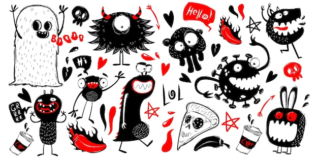 Gekritzel monsterfiguren auf weißem hintergrund