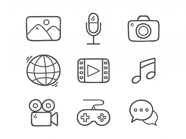 Gekritzel multimedia icons.