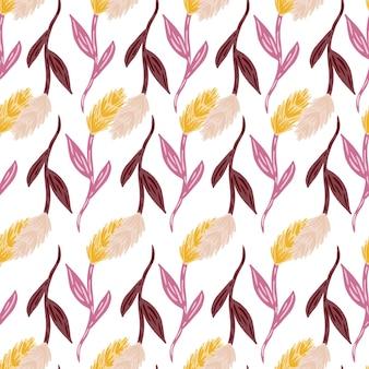 Gekritzel nahtloses muster mit einfachen isolierten ährensilhouetten. lila und gelb gefärbte grafik. grafikdesign für packpapier und stofftexturen. vektor-illustration.
