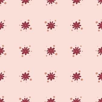 Gekritzel nahtloses muster mit hellrosa kleinen blumenkamillendruck. hellrosa hintergrund. grafikdesign für packpapier und stofftexturen. vektor-illustration.