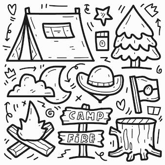 Gekritzel niedlichen hand gezeichneten cartoon camper