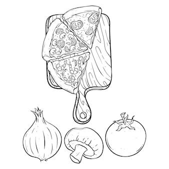 Gekritzel oder handzeichnung pizzascheibe auf dem schneidebrett