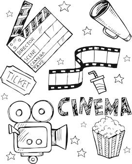 Gekritzel-satz einfache ikonen des kinos