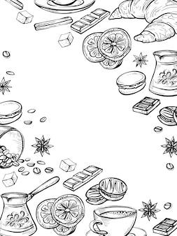 Gekritzel-satz kaffeezeichnungen, handgezeichneter skizzenrahmen. tee, schokolade, zitrone, croissant und makronen