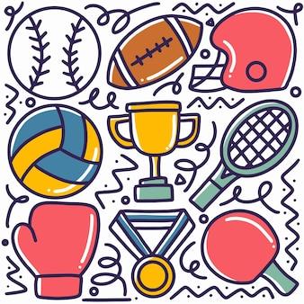 Gekritzel-satz sporthandzeichnung mit ikonen und gestaltungselementen