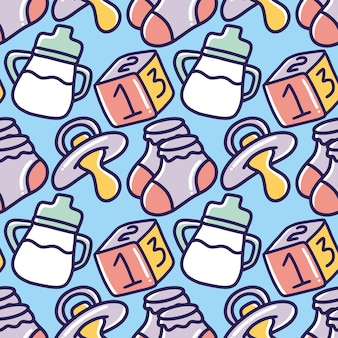 Gekritzel-satz von baby-zeug-handzeichnung mit symbolen und designelementen