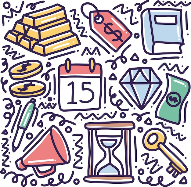 Gekritzel-satz von geschäftswerkzeughandzeichnung mit ikonen und gestaltungselementen