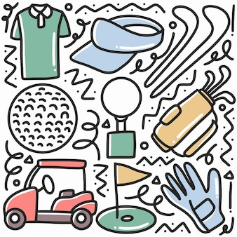 Gekritzel-satz von golfsporthandzeichnung mit ikonen und designelementen