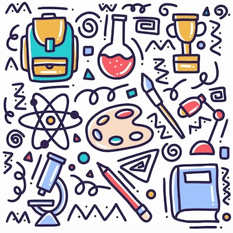 Gekritzel-satz von hand gezeichneten schulwerkzeugen mit ikonen und gestaltungselementen