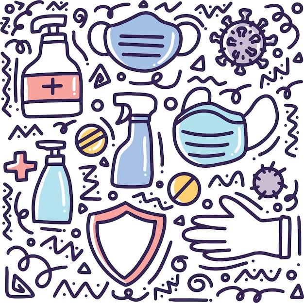 Gekritzel-satz von handzeichnung des gesunden lebensstils mit ikonen und gestaltungselementen