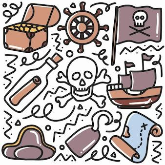 Gekritzel-satz von piratenmaterial-handzeichnung mit ikonen und gestaltungselementen