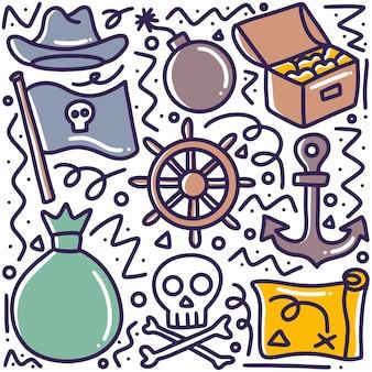 Gekritzel-satz von piratenmaterial-handzeichnung mit symbolen und designelementen