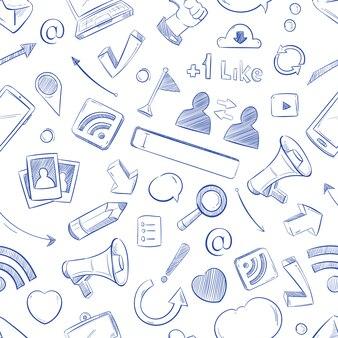 Gekritzel-social media-muster