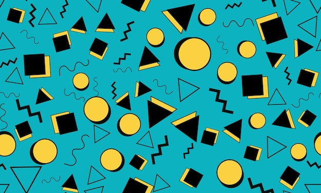 Gekritzel-spaß-hintergrund. nahtloses muster. sommer-doodle-hintergrund. nahtlose 90er jahre. memphis-muster. vektor-illustration. hipster-stil der 80er-90er jahre. abstrakter bunter flippiger hintergrund.