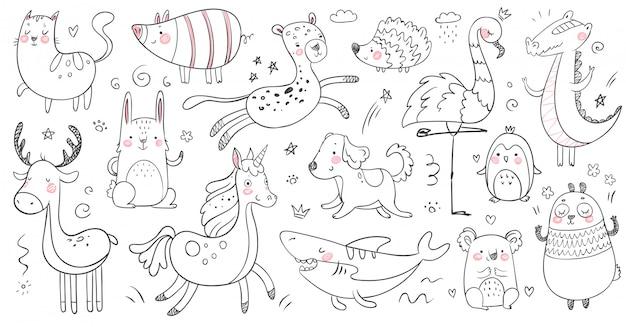 Gekritzel tiere. skizziertier, handgezeichneter dekorationspanda und entzückendes krokodil. netter hai, katze und freundschaftsleopardensatz
