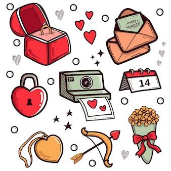 Gekritzel valentinstag element pack