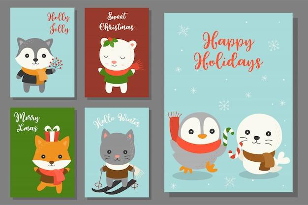 Gekritzel weihnachten der grußkarte hand gezeichnetes mit nettem charakter
