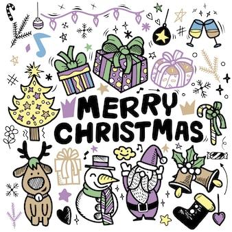 Gekritzel-weihnachtshintergrund, freihand-weihnachtsumrisskritzeleien, hand gezeichnet