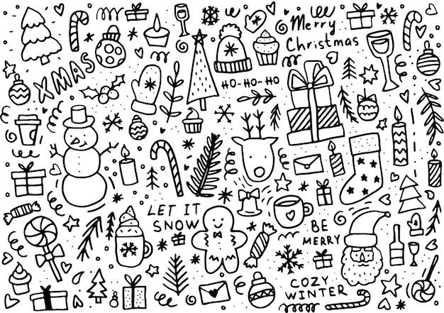Gekritzel-weihnachtshintergrund. winterelemente für grußkarten, poster, aufkleber und saisonales design.