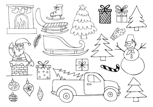 Gekritzel-weihnachtsillustrationen stellten in vektor ein. hand gezeichnete weihnachtsikonensammlung im vektor.