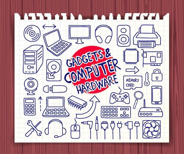 Gekritzelgeräte und computerhardwareikonen eingestellt