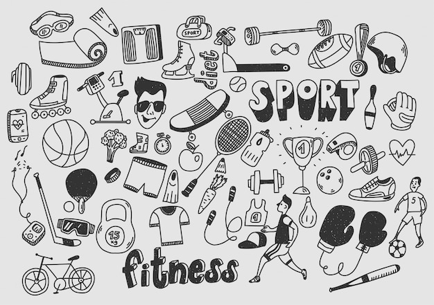 Gekritzelhand des gesunden lebensstils der sportfitness gezeichnet.