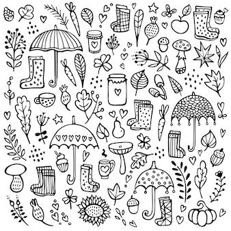 Gekritzelhintergrund mit regenschirmen, gummistiefeln, zweigen und anderen blumenelementen