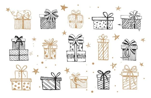 Gekritzelikonen der geschenkbox weihnachtssatz hand gezeichnete elemente