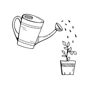 Gekritzelillustration mit einer gießkanne, die eine blume wässert