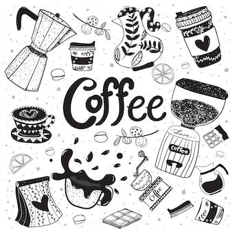 Gekritzelkaffeeausrüstungshand, die flaches vektorelement zeichnet