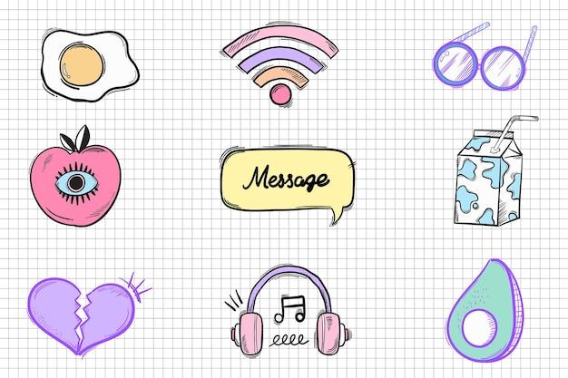 Gekritzelkarikaturaufkleber der sozialen medienikone hand gezeichneter drawn