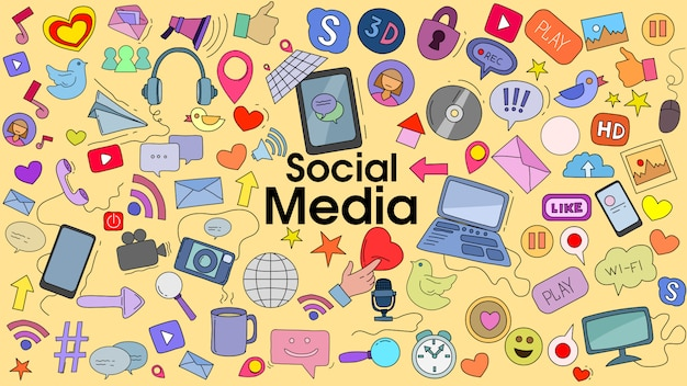 Gekritzelkarikatursatz des sozialen medienthemas