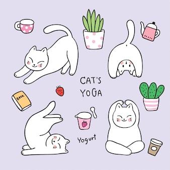 Gekritzelkatzen-yoga-entspannungsvektor der karikatur netter.