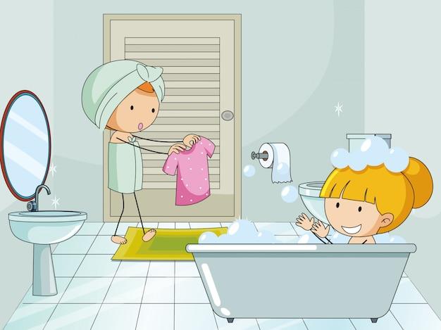 Gekritzelkinder im bathroon