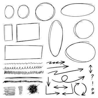 Gekritzellinien, pfeile, kreise und kurven vector.hand gezeichnete gestaltungselemente lokalisiert auf weißem hintergrund für infografik. vektor-illustration.
