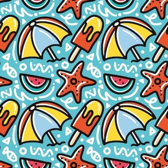 Gekritzelmuster der sommerferien auf der strandhandzeichnung mit ikonen und gestaltungselementen