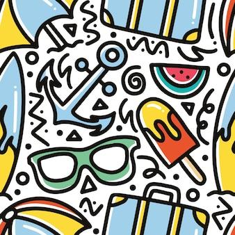 Gekritzelmuster der sommerferienhandzeichnung mit ikonen und gestaltungselementen