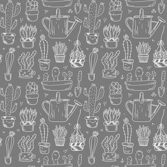 Gekritzelmuster mit pflanzen in töpfen. aufkleber gartenarbeit und zu hause