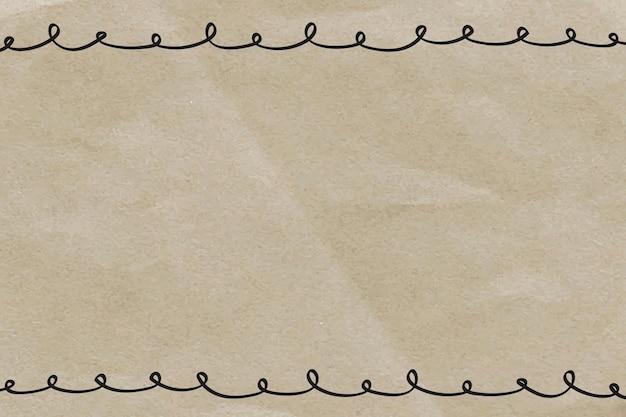 Gekritzelrahmen auf zerknittertem papierhintergrund